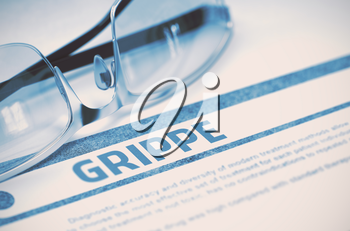 Grippe - Medicine Concept with Blurred Text and Specs on Blue Background. Selective Focus. 3D Rendering.