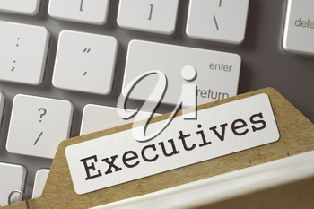 Executives Concept. Word on Folder Register of Card Index. Archive Bookmarks of Card Index Overlies White Modern Keypad. Closeup View. Selective Focus. Toned Image. 3D Rendering.