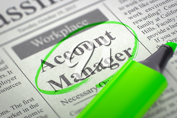 Account Manager - Small Ads of Job Search in Newspaper, Circled with a Green Highlighter. Blurred Image with Selective focus. Job Search Concept. 3D Rendering.