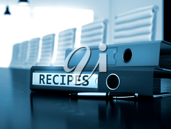 Recipes - Concept. Recipes. Concept on Toned Background. Recipes - Folder on Working Office Table. 3D.