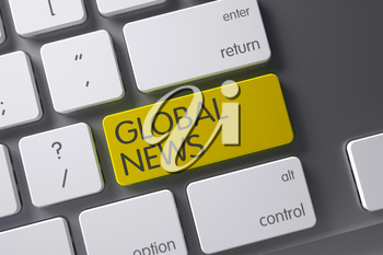 Global News Concept: Slim Aluminum Keyboard with Global News, Selected Focus on Yellow Enter Keypad. 3D.