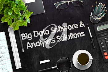 Black Chalkboard with Big Data Software and Analytics Solutions Concept. 3d Rendering. Toned Illustration.