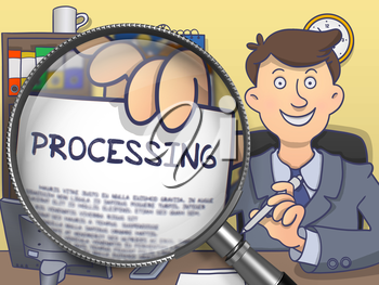 Processing on Paper in Man's Hand through Magnifying Glass to Illustrate a Business Concept. Colored Doodle Illustration.