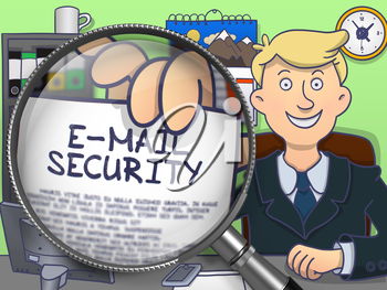 E-Mail Security through Magnifier. Man Showing a Text on Paper. Closeup View. Colored Doodle Style Illustration.