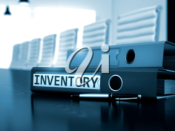 Inventory - Illustration. Inventory - Office Binder on Office Wooden Desktop. Inventory - Business Concept on Blurred Background. Inventory. Illustration on Toned Background. 3D Render.