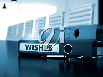 Ring Binder with Inscription Wishes on Working Desktop. Wishes - Business Illustration. Wishes - Binder on Black Desktop. Wishes - Business Concept on Toned Background. 3D Render.