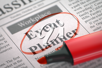 Event Planner - Small Advertising in Newspaper, Circled with a Red Highlighter. Blurred Image. Selective focus. Job Search Concept. 3D Render.