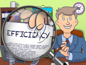 Man Holds Out a Text on Paper Efficiency. Closeup View through Magnifying Glass. Multicolor Doodle Illustration.