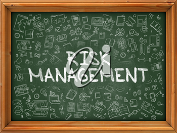 Hand Drawn Risk Management on Green Chalkboard. Hand Drawn Doodle Icons Around Chalkboard. Modern Illustration with Line Style.