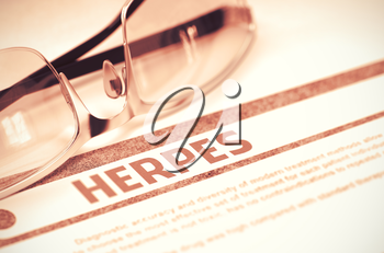 Herpes - Medical Concept on Red Background with Blurred Text and Composition of Glasses. Herpes - Medical Concept with Blurred Text and Glasses on Red Background. Selective Focus. 3D Rendering.