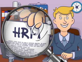 HRM - Human Resource Management - on Paper in Businessman's Hand through Magnifier to Illustrate a Business Concept. Multicolor Modern Line Illustration in Doodle Style.