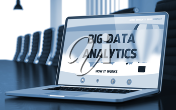 Big Data Analytics on Landing Page of Laptop Screen in Modern Conference Hall Closeup View. Toned Image. Blurred Background. 3D Rendering.