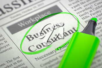 A Newspaper Column in the Classifieds with the Jobs Section Vacancy of Business Consultant, Circled with a Green Highlighter. Blurred Image with Selective focus. Job Seeking Concept. 3D Render.