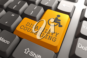 Disability Counseling Words with  Disabled Icon on Orange Button of Black Modern Computer Keyboard.