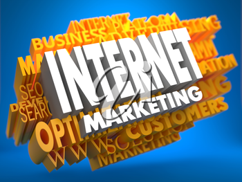 Internet Marketing on White Color on Cloud of Yellow Words on Blue Background. Business Concept.