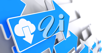 Cloud with Arrow Icon on Blue Arrow on a Grey Background. IT Concept.