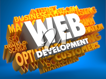 Web Development on White Color on Cloud of Yellow Words on Blue Background. Internet Concept.