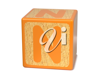 Letter N on Orange Wooden Childrens Alphabet Block  Isolated on White. Educational Concept.