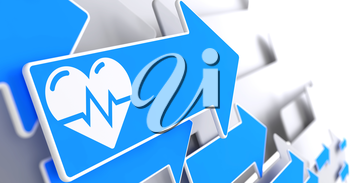 Icon of Heart with Cardiogram Line on Blue Arrow on a Grey Background.