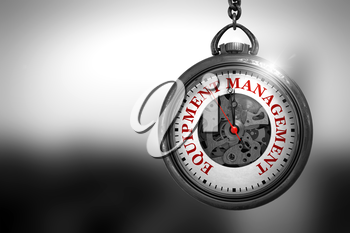 Business Concept: Watch with Equipment Management - Red Text on it Face. Equipment Management Close Up of Red Text on the Vintage Watch Face. 3D Rendering.