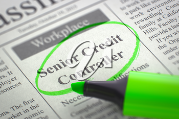 Newspaper with Vacancy Senior Credit Controller. Blurred Image with Selective focus. Concept of Recruitment. 3D Illustration.