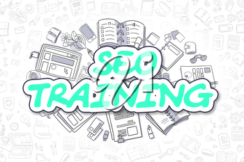 SEO Training - Sketch Business Illustration. Green Hand Drawn Word SEO Training Surrounded by Stationery. Doodle Design Elements.