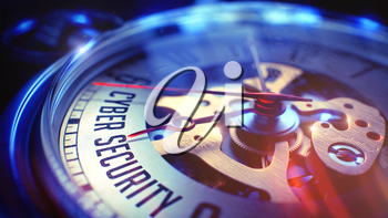 Business Concept: Cyber Security Text. on Pocket Watch Face with Close View of Watch Mechanism. Time Concept with Selective Focus and Lens Flare Effect. 3D.