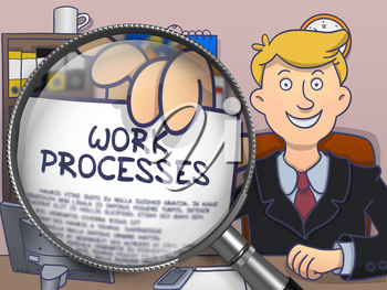 Work Processes. Smiling Business Man in Office Holds Out a Concept on Paper through Magnifier. Multicolor Doodle Illustration.