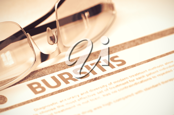 Bursitis - Medicine Concept on Red Background with Blurred Text and Composition of Spectacles. 3D Rendering.