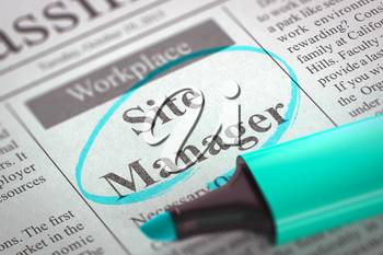 Site Manager. Newspaper with the Small Advertising, Circled with a Azure Marker. Blurred Image. Selective focus. Hiring Concept. 3D Rendering.
