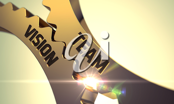 Team Vision on the Mechanism of Golden Metallic Gears with Glow Effect. 3D Render.