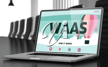 Laptop Screen with Waas Concept on Landing Page. Closeup View. Modern Meeting Room Background. Toned. Blurred Image. 3D Illustration.