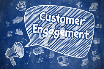 Shouting Horn Speaker with Phrase Customer Engagement on Speech Bubble. Cartoon Illustration. Business Concept.