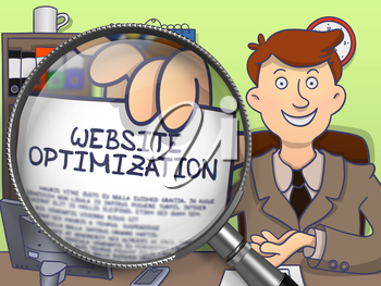 Website Optimization through Magnifier. Officeman Holding a Paper with Text. Closeup View. Colored Doodle Style Illustration.