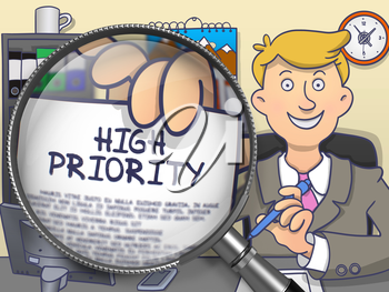 High Priority. Business Man in Office Workplace Holding a through Magnifier Concept on Paper. Colored Doodle Style Illustration.