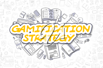 Business Illustration of Gamification Strategy. Doodle Yellow Word Hand Drawn Doodle Design Elements. Gamification Strategy Concept.