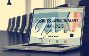 Modern Meeting Room with Laptop Showing Landing Page with Text Business Environment Analysis. Closeup View. Blurred. Toned Image. 3D Rendering.