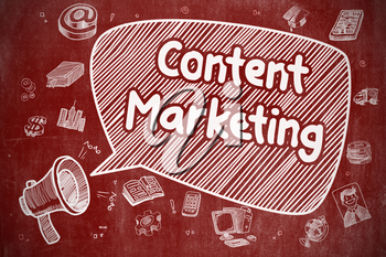 Business Concept. Megaphone with Text Content Marketing. Cartoon Illustration on Red Chalkboard. Content Marketing on Speech Bubble. Doodle Illustration of Shouting Bullhorn. Advertising Concept.