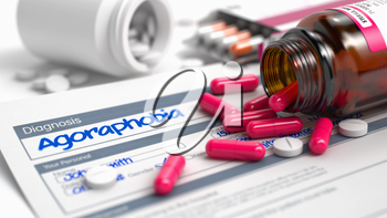 Agoraphobia - Handwritten Diagnosis in the Disease Extract. Medicine Concept with Red Pills, CloseUp View, Selective Focus. Agoraphobia Text in Anamnesis. Close View of Medical Concept. 3D.