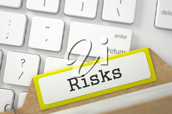 Risks written on Yellow Folder Register Concept on Background of White Modern Computer Keyboard. Close Up View. Selective Focus. 3D Rendering.