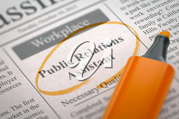 Public Relations Assistant - Jobs in Newspaper, Circled with a Orange Marker. Blurred Image. Selective focus. Hiring Concept. 3D.