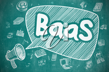 Shouting Horn Speaker with Wording BaaS - Backend As A Service on Speech Bubble. Cartoon Illustration. Business Concept.