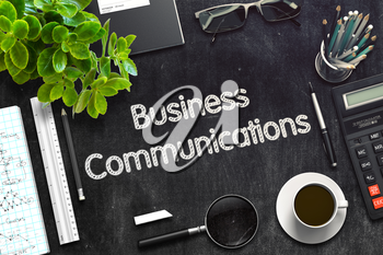 Business Communications on Black Chalkboard. 3d Rendering. Toned Illustration.