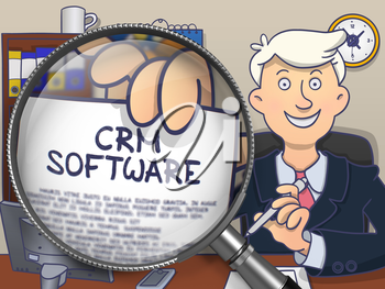 CRM - Customer Relationship Management - Software. Concept on Paper in Man's Hand through Lens. Colored Doodle Illustration.