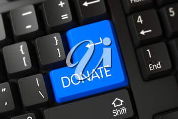 Black Keyboard with the words Donate on Blue Key. 3D Render.