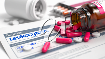 Leukocytosis - Handwritten Diagnosis in the History of the Present Illness. Medical Concept with Heap of Pills, Close View, Selective Focus. 3D Illustration.