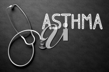 Medical Concept: Black Chalkboard with Asthma. Medical Concept: Asthma -  Black Chalkboard with Hand Drawn Text and White Stethoscope. Top View. 3D Rendering.