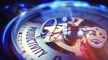 Watch Face with Productivity Phrase on it. Business Concept with Film Effect. Productivity. on Watch Face with Close Up View of Watch Mechanism. Time Concept. Lens Flare Effect. 3D.