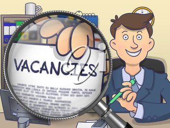 Businessman Showing Text on Paper Vacancies. Closeup View through Magnifying Glass. Multicolor Modern Line Illustration in Doodle Style.