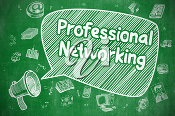 Speech Bubble with Inscription Professional Networking Cartoon. Illustration on Green Chalkboard. Advertising Concept.